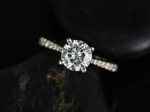 SALE Rosados Box Ready to Ship Taylor 7mm 14kt  Yellow Gold Round FB Moissanite and Diamond Cathedral Engagement Ring