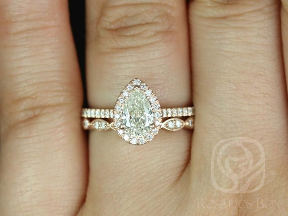 0.76ct Ready to Ship Tabitha  & Christie 14kt Rose Gold Conflict Free Diamonds Dainty Micro Pave Pear Halo Wedding Set Rings,Rosados Box