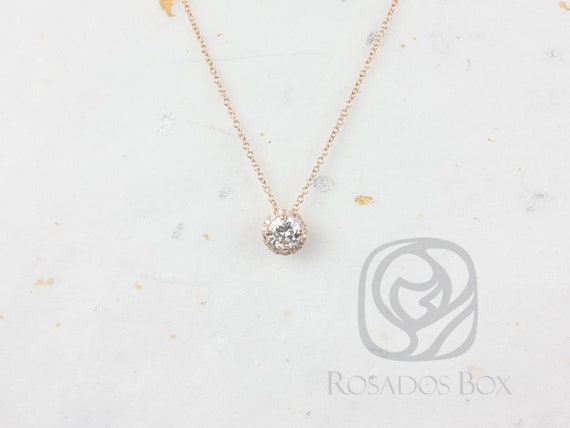 Rosados Box Ready to Ship Gemma 5mm 14kt Rose Gold Round Forever Brilliant Moissanite Diamonds Halo Floating Necklace
