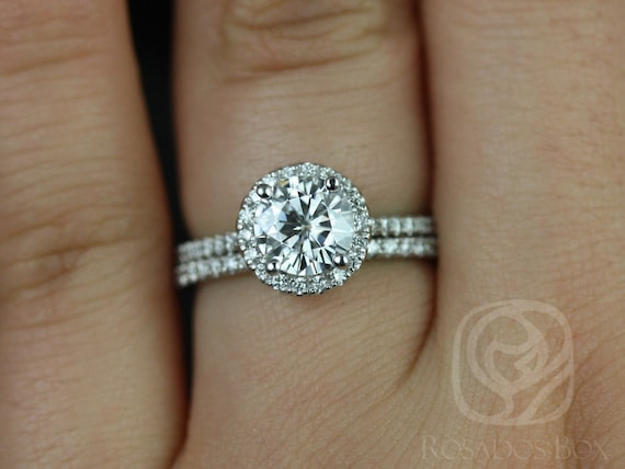 1ct Round Forever One Moissanite Diamonds Thin Pave Halo Classic Wedding Set Rings Rings,14kt Solid White Gold,Kimberly 6.5mm,Rosados Box