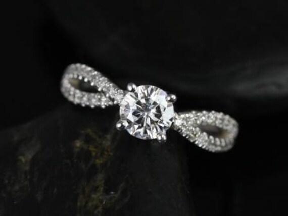 Rosados Box Karina 6mm 14kt White Gold Round Round Forever One Moissanite Diamonds Twist Engagement Ring