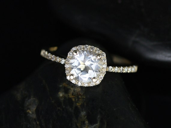 Rosados Box Barra 6mm Petite Size 14kt Yellow Gold Thin White Topaz and Diamonds Cushion Halo Engagement Ring