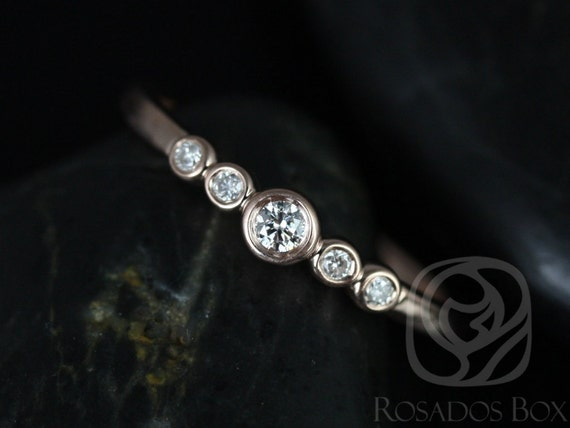Ready to Ship Bubbly 14kt Rose Gold Round Bezel Diamond Stack Ring,Mother's Day Gift,Gift For Her,Rosados Box