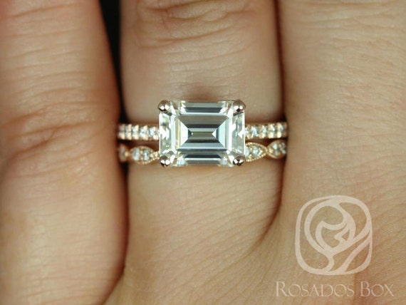 Rosados Box Becca 9x7mm & Christie 14kt Rose Gold Emerald Forever One Moissanite Diamonds Accent Wedding Set Rings