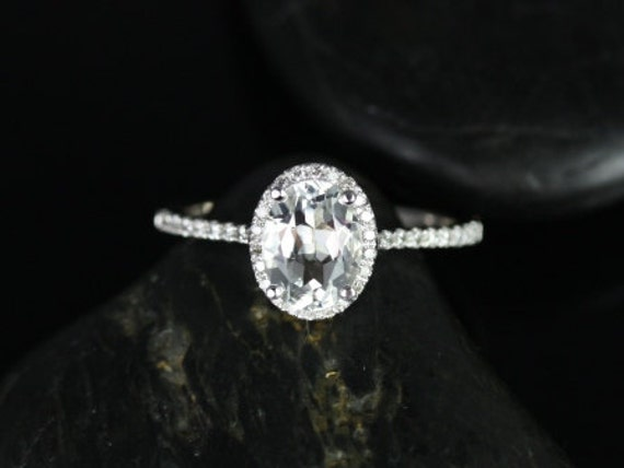 Rebecca 8x6mm 14kt White Gold White Topaz Diamond Micropave Dainty Oval Halo Engagement Ring,Rosados Box