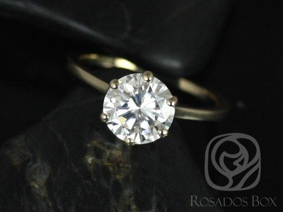 Rosados Box Paulina 8mm 14kt Yellow Gold  Round F1- Moissanite Six-Prong Skinny Engagement Ring