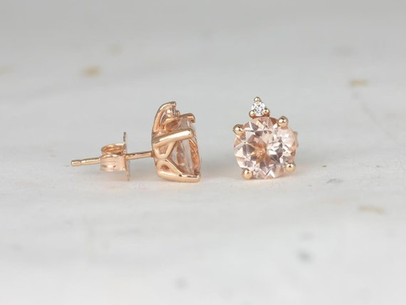Rosados Box Ready to Ship Nicole 7mm 14kt Rose Gold Round Morganite and Diamond Stud Earrings