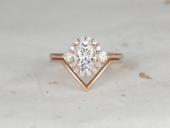 Rosados Box Britney 8x6mm & Femme 14kt Rose Gold Oval Forever One Moissanite and Diamonds Halo Chevron Wedding Set