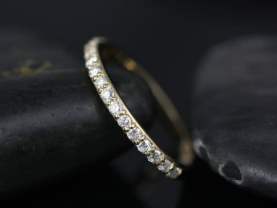 Thin Diamond Shared Prong Matching Band to Tiffani/Sarah HALFWAY Eternity Ring,14kt Yellow Gold, Rosados Box