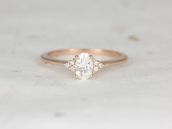 Ready to Ship 0.50ct Juniper 6x4mm 14kt YELLOW Gold Forever One Moissanite Diamonds Dainty Oval Cluster 3 Stone Engagement Ring,Rosados Box
