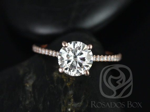 1.50ct DIAMOND FREE Eloise 7.5mm 14kt Rose Gold Forever One Moissanite White Sapphires Dainty Round Cathedral Engagement Ring,Rosados Box