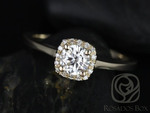 Forever One Moissanite Diamonds Cushion Halo Plain Band Engagement Ring . 14kt Solid Gold .  Bella 5mm . Rosados Box