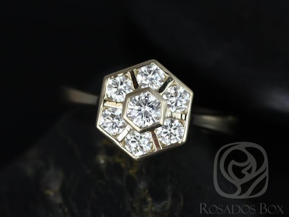 Art Deco Diamonds WITHOUT Milgrain Hexagon Cluster Ring,14kt Solid Yellow Gold,Mosaic Grande,Rosados Box