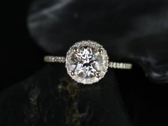 Rosados Box Kubian 7mm 14kt Yellow Gold Round White Topaz and Diamonds Halo Engagement Ring