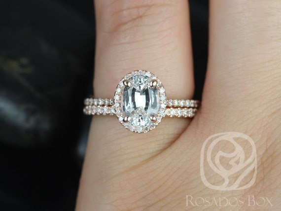 Rebecca 8x6mm 14kt Rose Gold White Sapphire Diamond Dainty Micropave Oval Halo Wedding Set Rings,Rosados Box