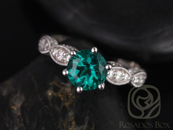 Rosados Box 7mm 14kt White Gold Round Emerald and Diamonds Cathedral Leaves  Engagement Ring