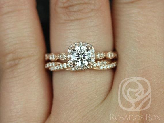 Rosados Box Christie 3/4ct & Twyla 14kt Rose Gold Round Diamond Cushion Halo WITH Milgrain Wedding Set Rings