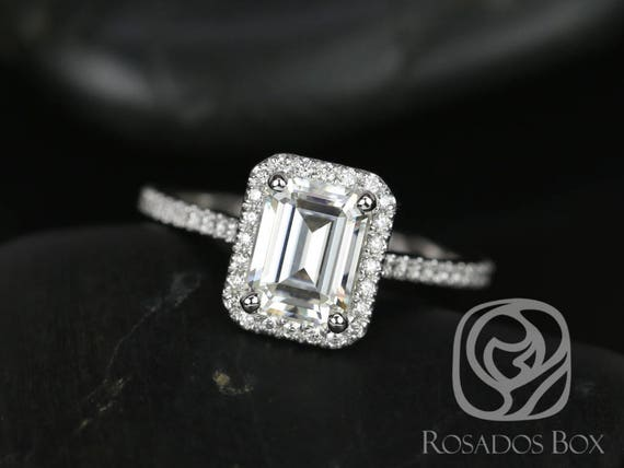 SALE Rosados Box Ready to Ship Brianna 8x6mm 14kt White Gold Emerald FB Moissanite and Diamonds Halo Engagement Ring