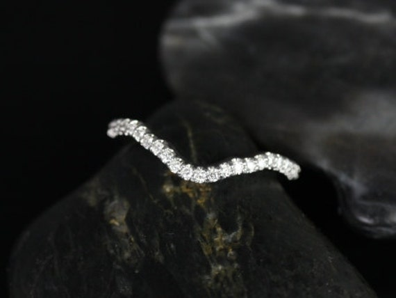 Diamonds Prong Set Curved Matching Band to Amora HALFWAY Eternity Band Ring, 14kt Solid White Gold, Rosados Box
