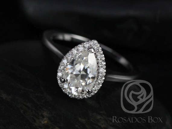 Rosados Box Julie 9x6mm 14kt White Gold Pear Forever One Moissanite Diamonds Plain Shank Halo Engagement Ring