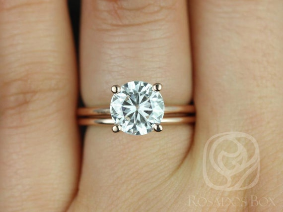 2ct Skinny Alberta 8mm & Plain Alberta 14kt Rose Gold Forever One Moissanite Dainty Round Solitaire Wedding Set Rings,Rosados Box