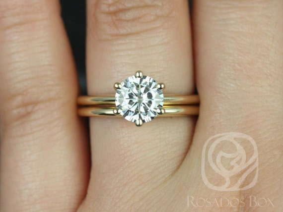 1.50ct Round Forever One Moissanite Thin 6 Prong Solitaire Wedding Set Rings,Skinny Webster 7.5mm,14kt Solid Yellow Gold,Rosados Box