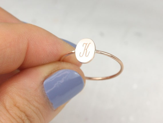 Petite Stevie 8x6mm 14kt Solid Gold Dainty Personalized Oval Letter Ring,Dainty Initial Ring,Tiny Letter Ring,Rosados Box