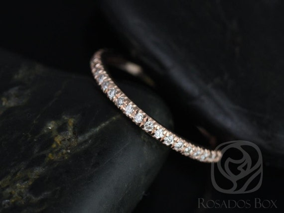 14kt Solid Rose Gold Thin Diamond Micropave Matching Band to Callie/Becca Glitter Pave HALFWAY Eternity Ring,Rosados Box