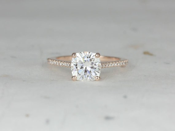 2cts Cushion Forever One Moissanite Diamonds Thin Cathedral Engagement Ring, 14kt Solid Rose Gold, Marcelle 7.5mm, Rosados Box