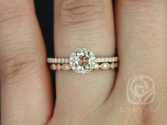Rosados Box Amanda 5mm & Ultra Petite Bead Eye 14kt Rose Gold Round Halo Morganite and Diamonds Wedding Set