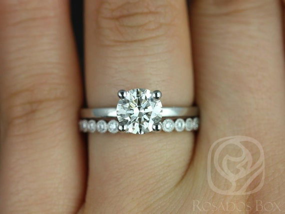 Rosados Box 7mm & Petite Bubbles 14kt White Gold Round Forever One Moissanite Diamonds Wedding Set Rings