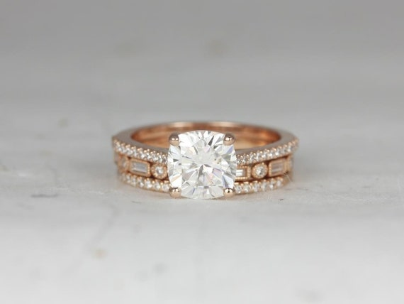 Rosados Box Marcelle 7.5mm & Ivanna 14kt Rose Gold Cushion Forever One Moissanite and Diamond Cathedral TRIO Wedding Set