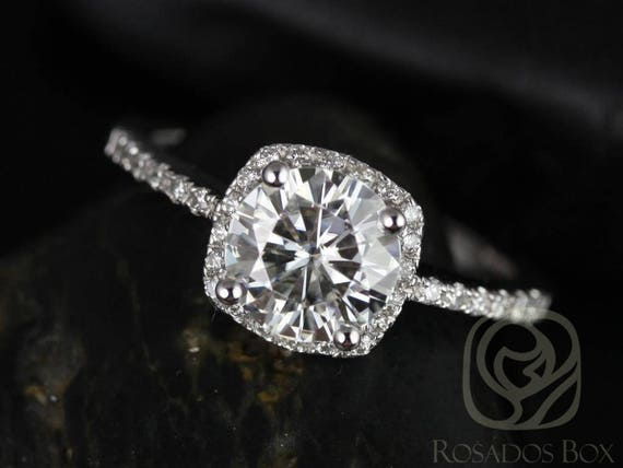 SALE Rosados Box Ready to Ship Barra 7mm 14kt White Gold Round FB Moissanite and Diamonds Cushion Halo Engagement Ring