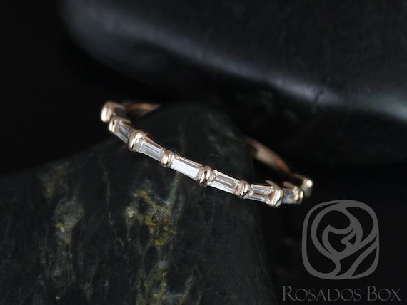 Baguettella 14kt Rose Gold Dainty Thin East West Baguette Diamond HALFWAY Eternity Band Ring,Rosados Box
