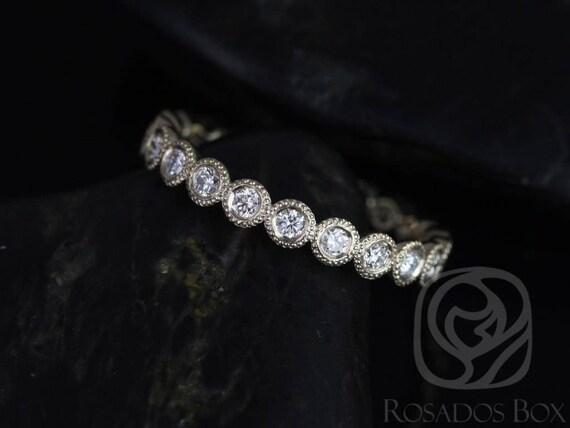Rosados Box Ready to Ship Original Bubbles 2.8mm 14kt WHITE Gold Round Diamond Bezel WITH Milgrain FULL Eternity Band