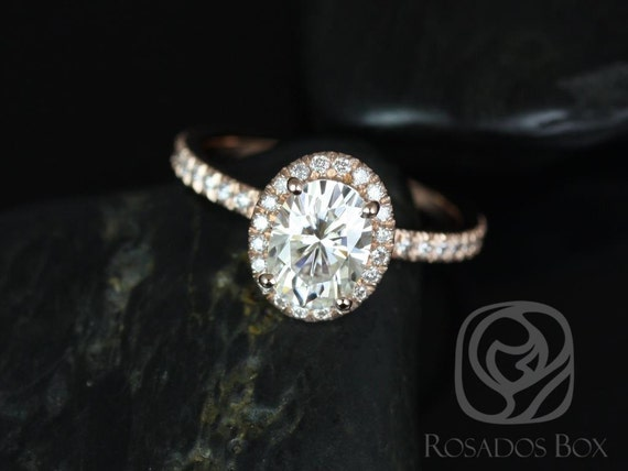 1.50ct Oval Forever One Moissanite Diamond Micropave Halo Engagement Ring,14kt Solid Rose Gold,EXTRA LOW Chantelle 8x6mm,Rosados Box