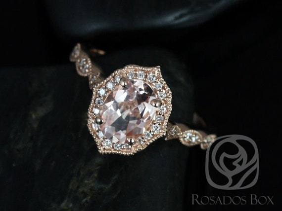Rosados Box Lana 8x6mm 14kt Rose Gold Oval Morganite and Diamond Halo WITH Milgrain Engagement Ring