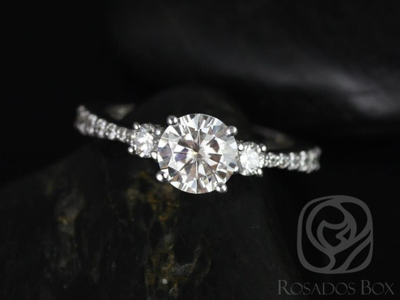 Rosados Box Amy 7mm 14kt White Gold Round Forever One Moissanite Diamonds Tapered 3 Stone Engagement Ring