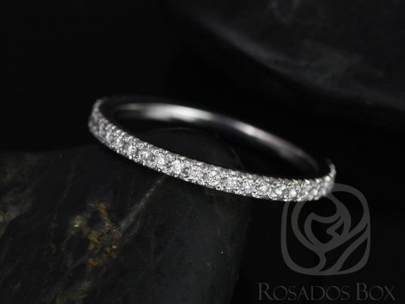 14kt Solid White Gold Thin Diamond Micropave Glitter Pave Matching Band to Pernella/Chantelle/Mariah ALMOST Eternity Ring,Rosados Box