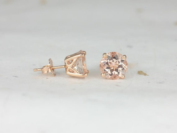 Rosados Box Ready to Ship Donna 8mm 14kt Rose Gold Round Morganite Leaf Gallery Basket Stud Earrings