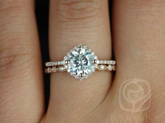Rosados Box Kitana 7mm & Ultra Petite Bead Eye 14kt F1- Moissanite and Diamonds Cushion Halo Wedding Set