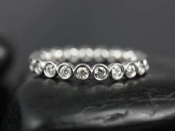 Rosados Box Original Bubbles Platinum WITHOUT Milgrain Bezel Diamond FULL Eternity Band