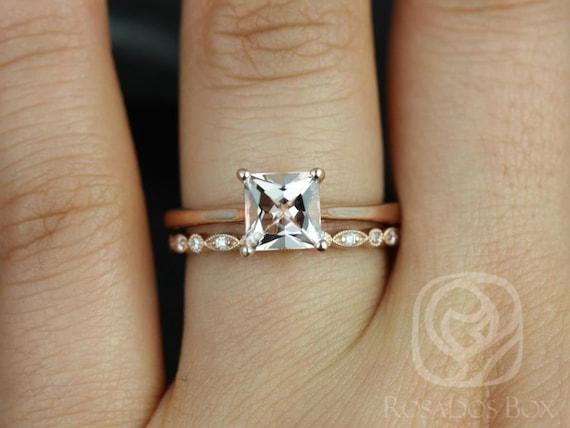 Rosados Box Gallina 6mm & Ultra Petite Bead Eye 14kt Rose Gold Princess Morganite and Diamond Wedding Set Rings