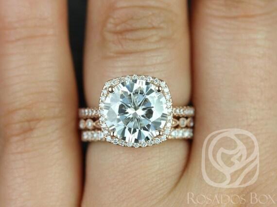 Rosados Box Barra 10mm & Gwen 14kt Rose Gold Round Forever One Moissanite Diamond ThinCushion Halo TRIO Wedding Set Rings