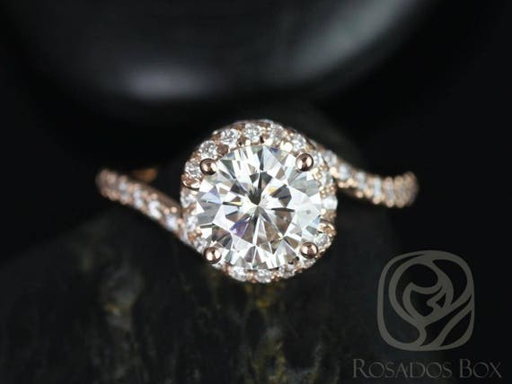 SALE Rosados Box Ready to Ship Alicia 7.50mm 14kt Rose Gold Round FB Moissanite & Diamond Twist Engagement Ring