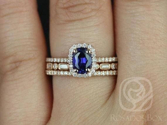 Rosados Box Romani 7x5mm & Ivanna 14kt Rose Gold Oval Blue Sapphire and Diamonds Halo TRIO Wedding Set
