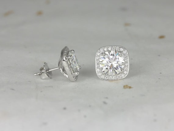 Rosados Box Ready to Ship Rheine 14kt White Gold Round 8mm Forever One Moissanite Diamonds Cushion WITH Milgrain Halo Stud Earrings