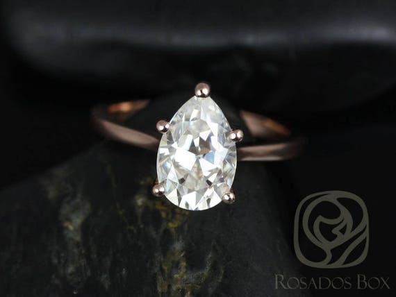 SALE Rosados Box Ready to Ship Skinny Jane 10x7mm 14kt Rose Gold Pear FB Moissanite Dainty Cathedral Solitaire Engagement Ring
