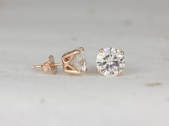 Rosados Box Ready to Ship Donna 8mm 14kt Rose Gold Round F1- Moissanite Leaf Gallery Basket Stud Earrings