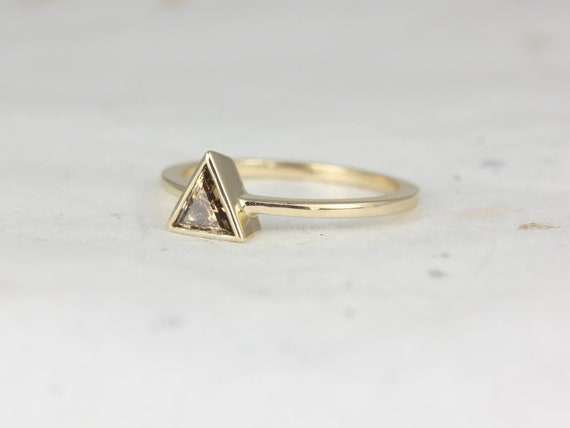 Rosados Box Ready to Ship Thalia 0.41cts 14kt Yellow Gold Triangle Cognac Diamond Ring (S.L.A.Y. Collection)